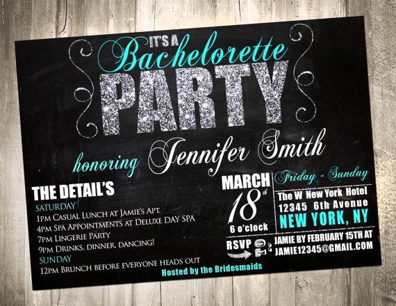 Hochzeit - Glitter Bachelorette Party Weekend Getaway Invitation - PRINTABLE