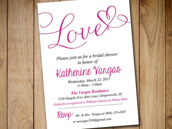 "Hochzeit - Bridal Shower Invitation Template - Heart Wedding Shower Invitation - Begonia ""Love"" Script Bridal Luncheon Template - Instant Download"