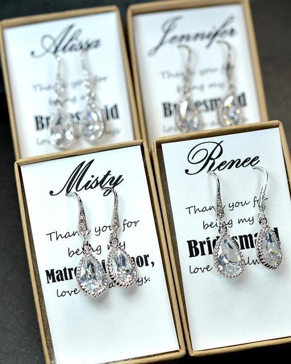 Mariage - Wedding Jewelry Bridesmaid Gift Bridesmaid Jewelry Bridal Jewelry  tear Drop Earrings Cubic Zirconia dangle Earrings,bridesmaid gifts