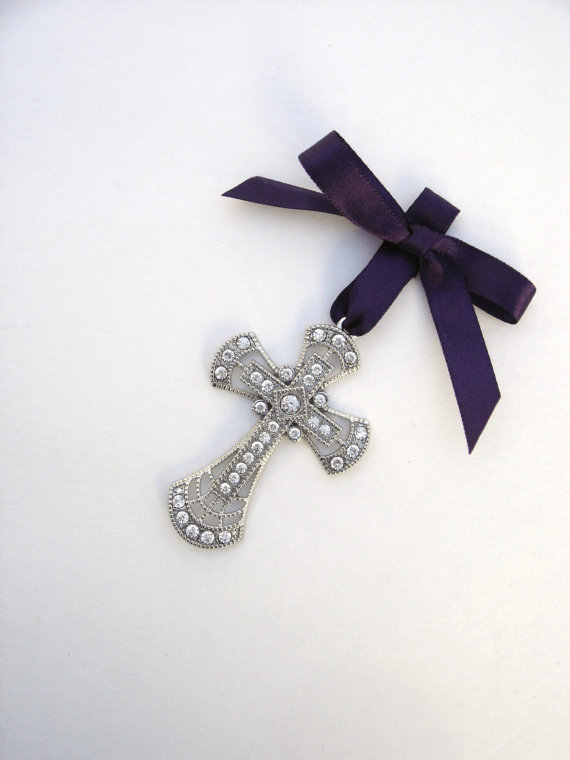 Mariage - Bouquet Charm, Wedding Keepsake, Bridal, Easter, Silver Cross, Rhinestone Cross, Cross Bouquet Charm, Religious Ceremony, Gift, Blessing