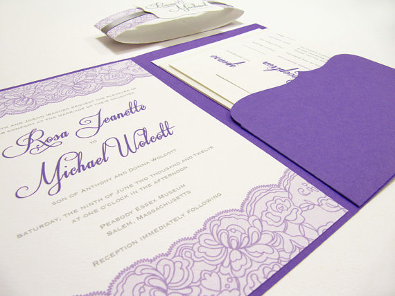 Hochzeit - Lace Wedding Invitation Suite, Pocket fold - Sample