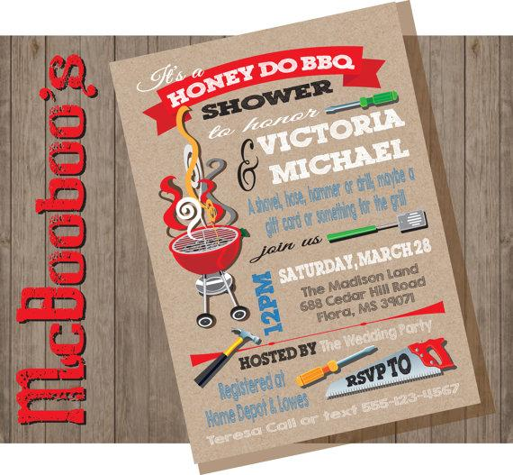 Wedding - Honey Do Barbecue BBQ Couples Shower Party Invitations on a kraft paper background