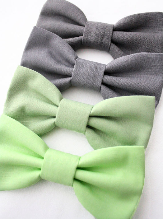 Mariage - Dog Cat Bow Tie Bowtie Mint Sage Green Grey Slate Wedding Formal Removable