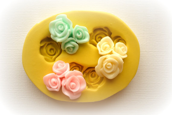 Свадьба - 1083 Small Rose Bouquets Decoden  Silicone Rubber Flexible Food Safe Mold Mould- resin, clay, fondant, gum paste, candy, chocolate, soap