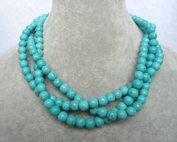 Mariage - Turquoise Necklaces, 18 Inches 8mm 3 Strands bead  Necklace,Wedding Jewelry,Necklace,