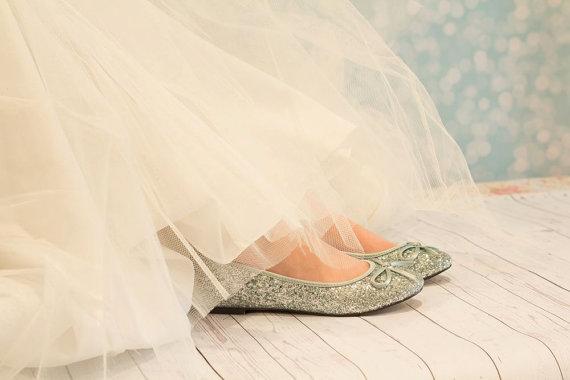 Свадьба - Blue Wedding Shoes - Flat Blue Shoes - Glitter Shoes - Wedding Shoes - Wedding Flats - Ballet Flats - Blue Ballet Flats - Aqua Blue Shoes