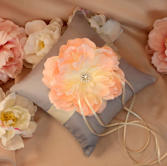 Hochzeit - Romantic Bloom Pillow with Crystal Rhinestone Accents