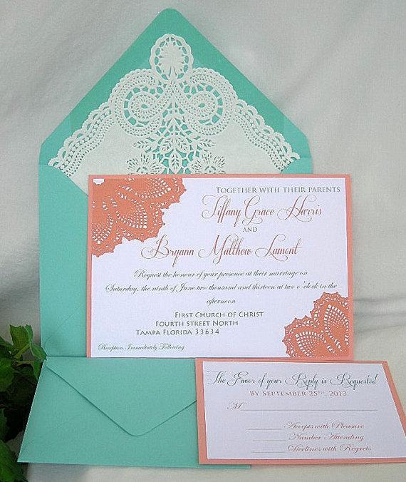 Hochzeit - Coral n Tiffany Blue Aqua Turquoise Wedding Invitation w Doily Lace Envelope & Elegant Doily Details Shabby Chic Invitation Custom Any Color