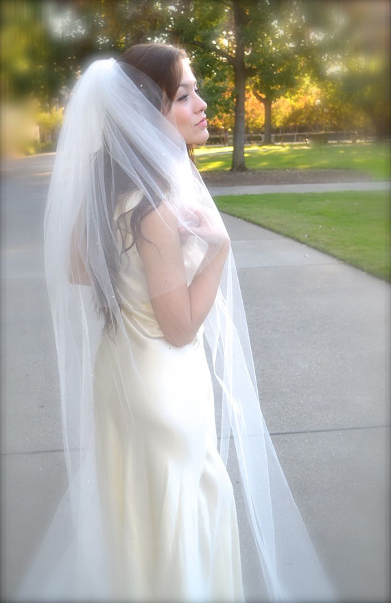 """Hochzeit - Traditional Wedding Veil Cathedral Veil with Blusher 108"""" wide and long full bridal veil white, ivory other colors cut edge 2 tier long veil"""