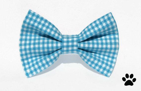 Свадьба - Blue gingham bow tie - cat bow tie, dog bow tie, pet bow tie