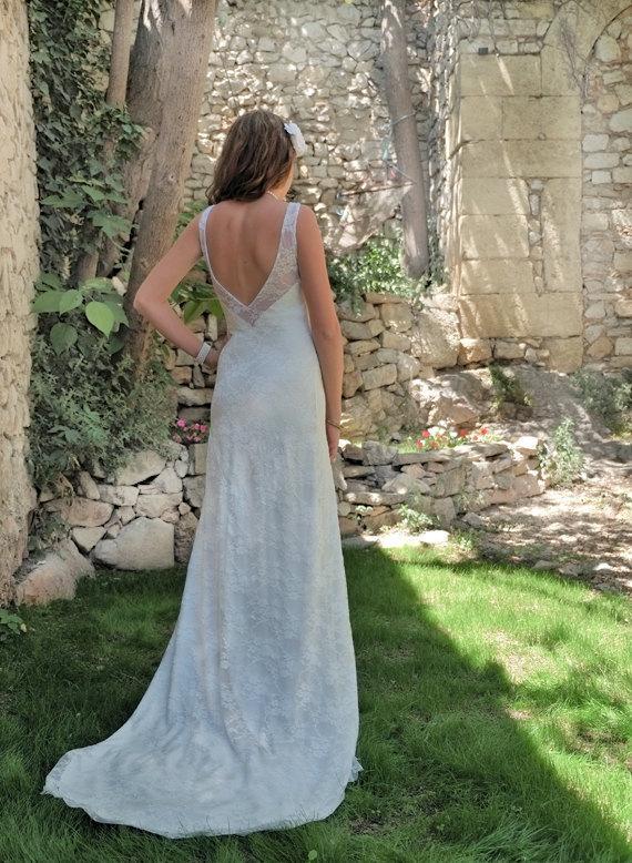 Wedding - Backless Wedding Dress, Beach Wedding Dress, Sexy Wedding Dress, Lace Wedding Dress, Sheer Ivory Wedding Dress Short Wedding Dress: MELODY