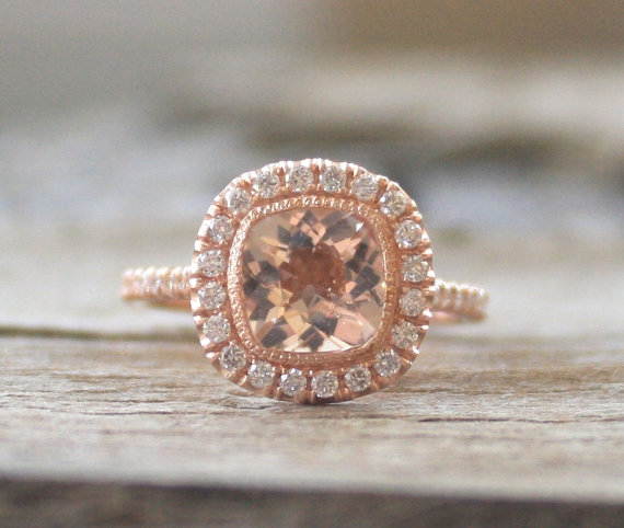Hochzeit - Cushion Morganite Engagement Ring in 14K Rose Gold