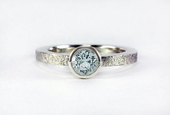 زفاف - Blue Aquamartine Gemstone Satin Ring - Low Profile, Sterling Silver 14k Palladium White or Yellow Gold - Promise Ring Engagement Anniversary