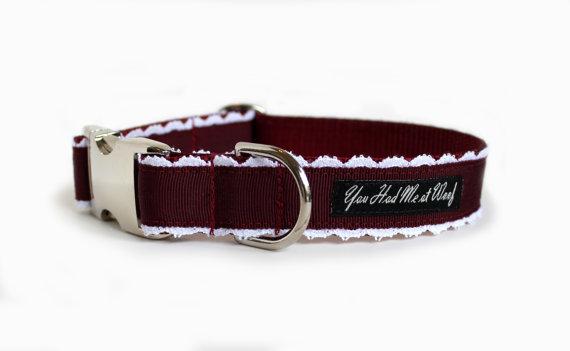 Свадьба - French Dog Collar, Burgundy Dog Collar, Lace, Couture Dog Collar, Wedding Dog Collar - Collette