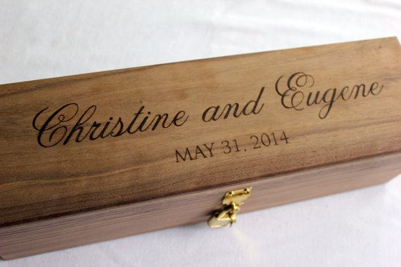 Wine Box Wedding Ceremony Love Letter Ceremony Wedding Wine Box handmade from Walnut Wedding Memory Box with Script Font & Wine Box Wedding Ceremony Love Letter Ceremony Wedding Wine Box ... Aboutintivar.Com