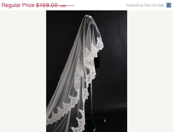 Wedding - VEIL SALE Grand Cathedral length Lace Mantilla Bridal Veil