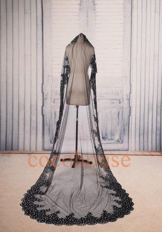 Black Lace Lique Long Wedding Veil Formal Veils Beaded Customs