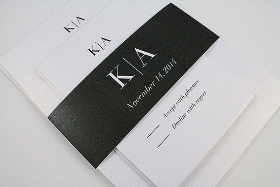 Hochzeit - Black White Monogram Modern and Simple Classic Elegant Black Tie Wedding Invitation with Bellyband - Kimberly Collection SAMPLE