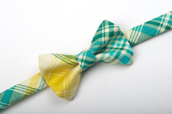Mariage - Plaid Bow Tie - aqua, green, yellow and ivory tartan Baby Toddler Child Boys - wedding