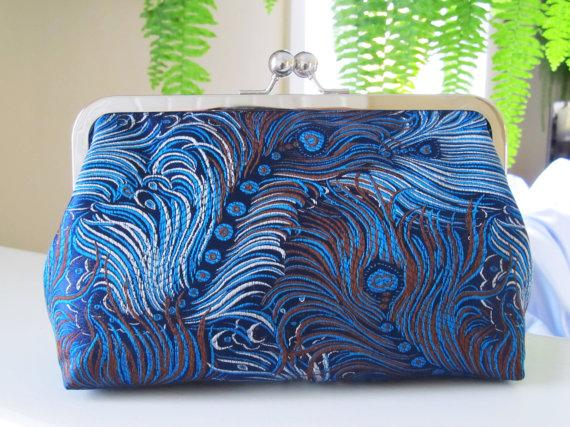Wedding - Electric Peacock Clutch in Brocade,Bridal Accessories,Bride Clutch,Bridesmaid Clutch,Wedding Clutch
