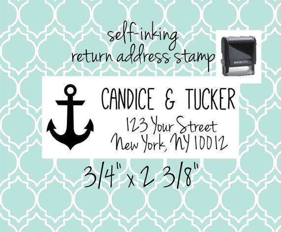 "زفاف - Custom Return Address Stamp - anchor stamp for nautical beach wedding, save the dates, invitations, thank you cards-  3/4"" x 2 3/8"""
