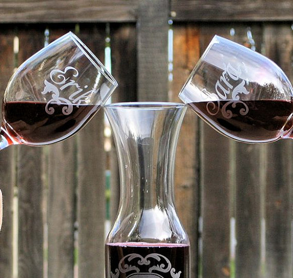 Wine Unity Set 2 Personalized Gles 1 Matching Carafe