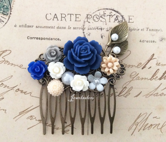 Mariage - Navy Blue Wedding Hair Comb Bridal Hair Accessories Ivory Latte Beige Calla Lily Pearl Woodland Flowers Branch Leaf Floral Headpiece WR