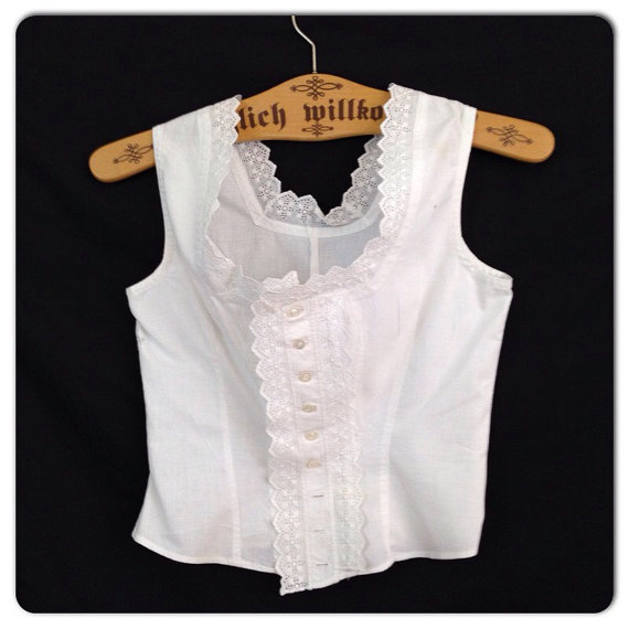 5a15161db0f8a Vintage 1920s 30s White Lace Eyelet Cotton Sleeveless Camisole Top   Linen  Sleeveless Midriff Blouse Corset Cover XS Bust 30 Flapper