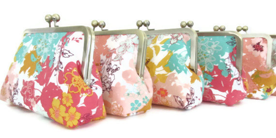 Mariage - Floral Clutch, Bridesmaid Gifts, Wedding Party, Custom Personalized Bridesmaid Bags
