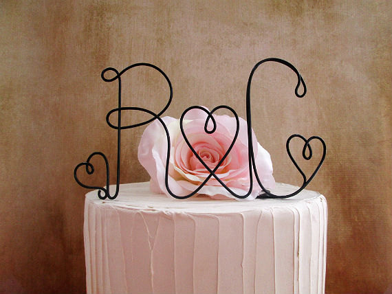 Mariage - Personalized with YOUR INITIALS Cake Topper, Table Centerpiece, Rustic Wedding, Shabby Chic Wedding, Wedding Cake Topper