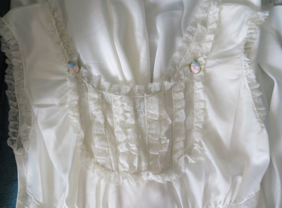 Wedding - Vintage 40s Nightgown White Ivory Wedding Lingerie Slip Ruffles Lace Tiny Floral Trim Ties in Back Size Small 6 Barbizon Label