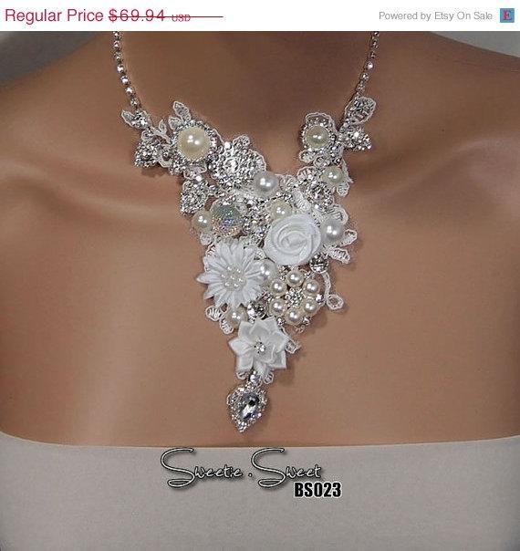 زفاف - SALE Bridal Necklace, Bride Necklace, Wedding Necklace, Bridal jewelry, Wedding jewelry, Flower Necklace, layered Necklace, chunky necklace