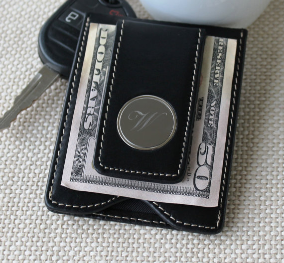 Свадьба - Personalized Leather Money Clip and Wallet Combo - Groomsmen Gift - Best Man Gift - Fathers Day Gift - Engraved - Monogrammed for Free