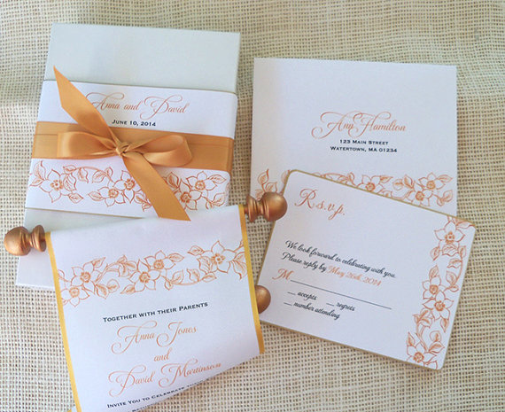 Hochzeit - Formal Wedding Invitation Suite in Gold and Copper, Boxed Fabric Scroll with Romantic Floral Accents, Elegant Classic Invitation {25}
