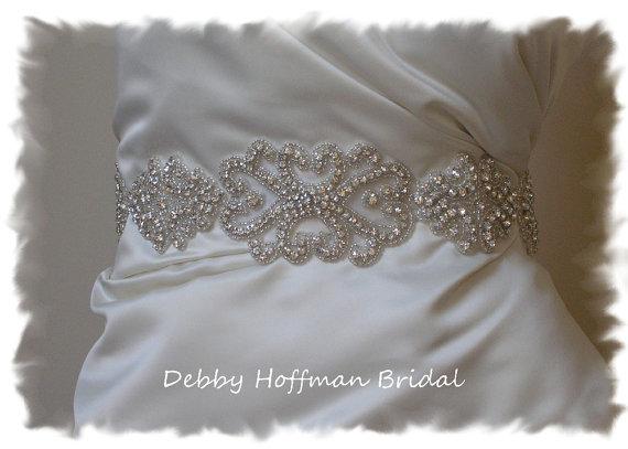 Silver beaded rhinestone crystal bridal sash vintage for Vintage wedding dress belts