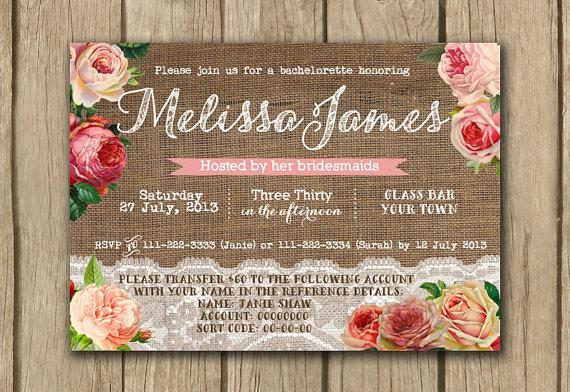 Burlap Lace Bridal Shower Invite Hens Party Invitation Hen Night – Bridal Shower and Bachelorette Party Invitations