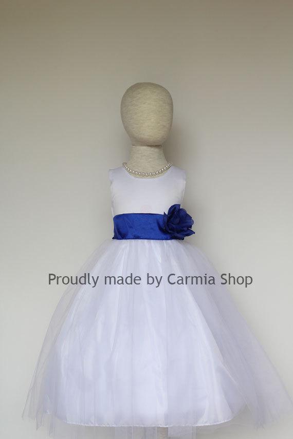 Flower Girl Dresses - WHITE With Blue Royal (FRBP) - Easter Wedding ...