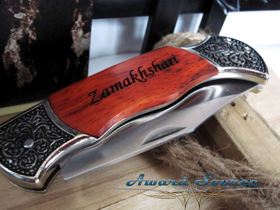 Свадьба - 14 Personalized Groomsmen Gifts - Custom Engraved Wood Handle Pocket Knife Hunting Knives - Groomsman Best Man Ring Bearer Gift
