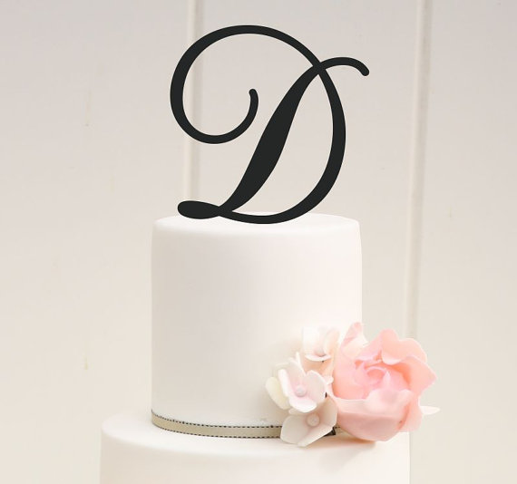 Mariage - Personalized Monogram Wedding Cake Topper - 6 Inch Monogram Letter Cake Topper