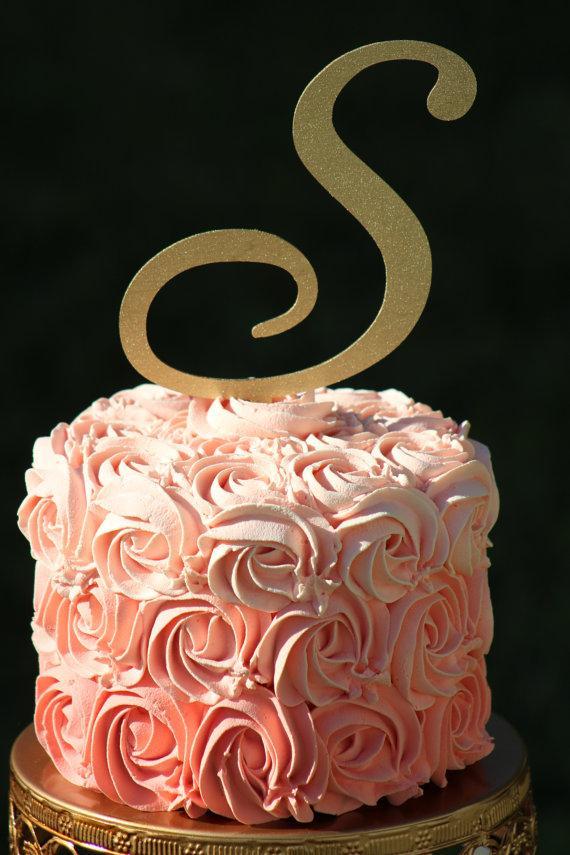 gold monogram wedding cake topper wooden cake topper personalized cake topper 2262688. Black Bedroom Furniture Sets. Home Design Ideas