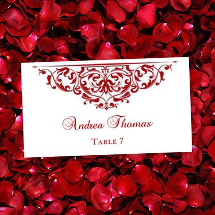 10 Per Sheet Printable Place Card Grace Red Edit Word Doc Avery Compatible Instant D All Colors Available For Order Diy Uprint