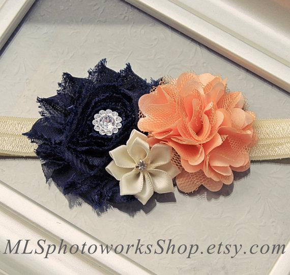 Mariage - Navy, Peach & Ivory Flower Headband - Wedding Flower Girl Hair Bow in Navy Blue and Peach Color Combination - Available on Headband or Clip