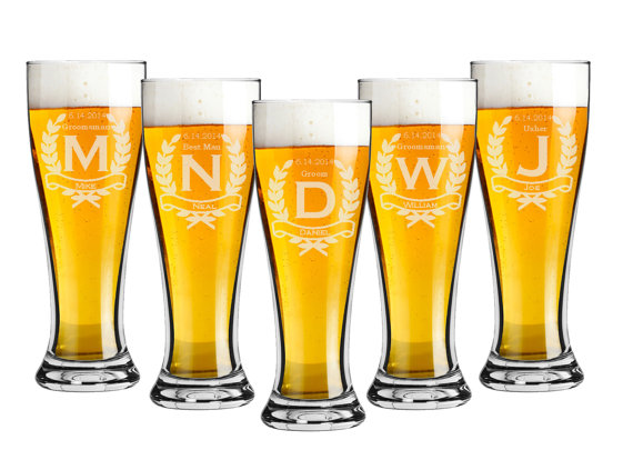 Engraved Wedding Beer Glasses : ... Personalized Beer Glasses, Custom Engraved Pilsner Glass, Wedding