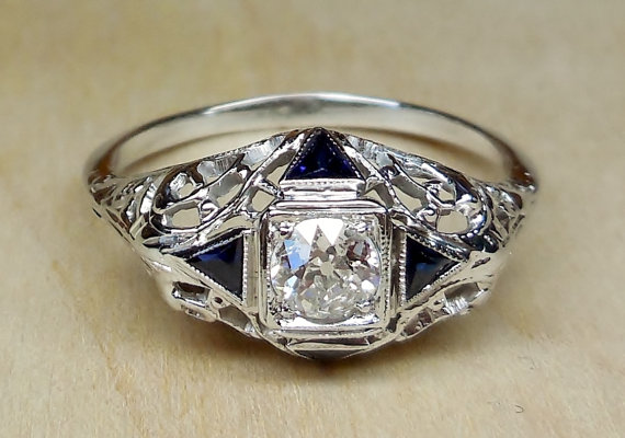 Vintage Antique 70ct Old European Cut Diamond Sapphire 14k White