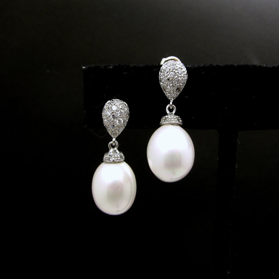Свадьба - STERLING SILVER- Bridal wedding oval white shell pearl earrings with cubic zirconia post - Free US Shipping