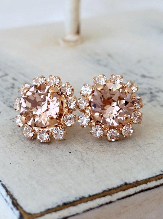 Свадьба - Rose gold Blush Pink crystal halo stud earrings, Bridal earrings, Bridesmaids gifts, Blash Pink Swarovski rhinestone studs, Wedding jewelry