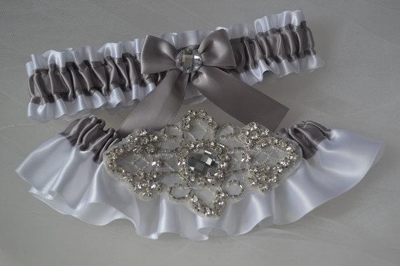 Wedding Garter Set Silver With White Satin Belts Bridal Garters Rhinestone
