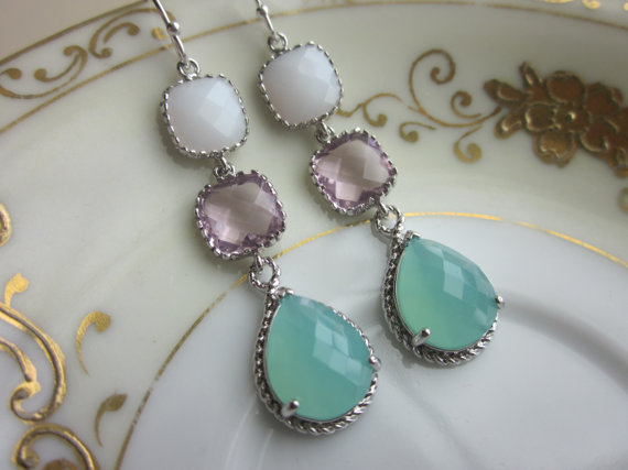 Wedding - Pacific Aqua Mint Earrings White Pink Squares Three Tier Sterling Silver - Bridesmaid Earrings - Wedding Earrings - Bridesmaid Jewelry Gift
