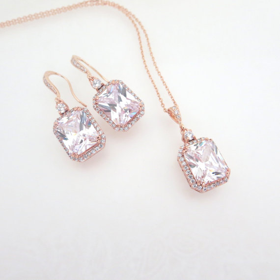 Rose Gold Bridal Earrings Rose Gold Wedding Necklace Rose Gold