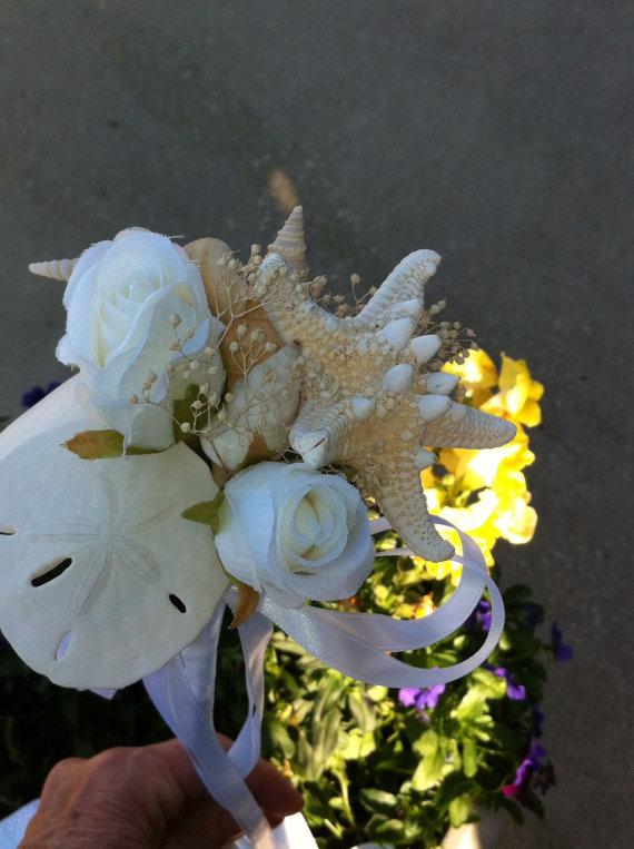 Свадьба - Beach Wedding Seashell Wand Flowergirl  Bouquet Bride Bridesmaids Beach Sea Shell
